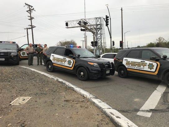Shasta County sheriff's deputies block Highway 273