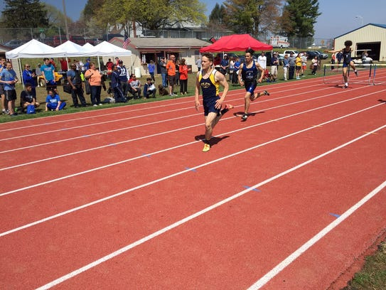 Elco;s Grant Brubaker heads to the finish line to win