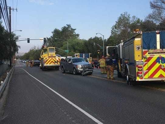 Ventura County fire crews pulled two people from vehicles