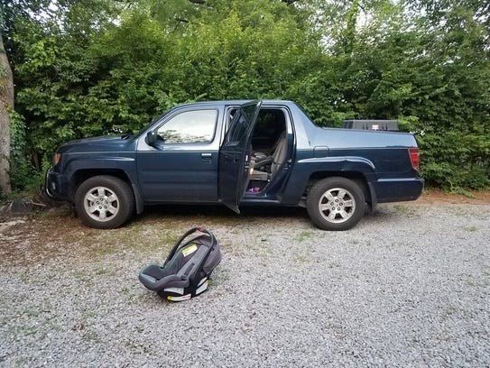 The truck that the 1-year-old girl was found in.