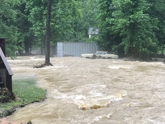 Flooding at Flat Creek in Black Mountain.