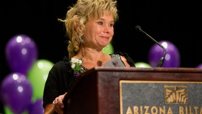 The Arizona Educational Foundation names Chaparral High School English teacher, Christine Marsh, as the 2016 Arizona Education Foundation Teacher of the Year during a banquet at the Arizona Biltmore in Phoenix on November 19, 2015.