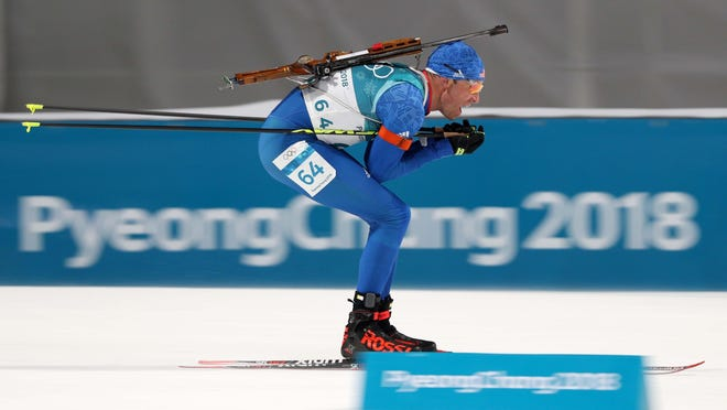 Lowell Bailey competes Sunday in the men's biathlon 10km sprint during the Pyeongchang 2018 Olympic Winter Games at Alpensia Biathlon Centre.