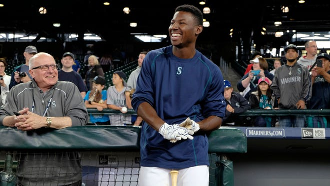 Mariners first-round draft pick Kyle Lewis prepares to take batting practice at Safeco Field last summer after signing a contract. Lewis was injured a month later while playing for short-season Everett.