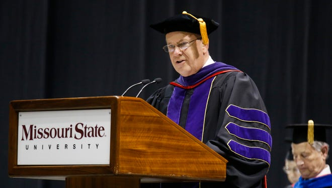 Missouri State University President Clif Smart addresses the crowd during MSU's Commencement ceremony for the College of Humanities and Public Affairs and College of Health and Human Services at JQH Arena on Friday,  May 18, 2018.
