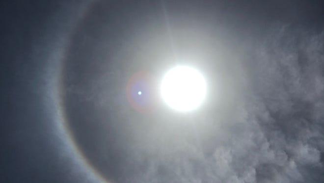 A sun halo also appeared Sunday, June 10, 2018, in Corpus Christi, Texas.