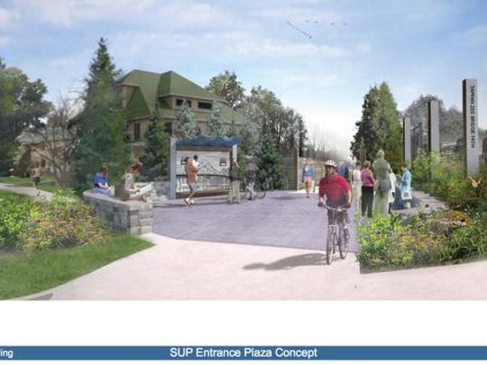 This rendering shows the proposed South Nyack terminus of the walking and bike path that will be part of the new Tappan Zee Bridge in 2018.  New York State Thruway AuthorityThis rendering shows where people in South Nyack would get on and off the pedestrian and bike path that will be part of the new Tappan Zee Bridge in 2018. The state recently acquired land on Cornelison Avenue through eminent domain that will be used for the small plaza. New York State Thruway AuthorityThis rendering shows where people in South Nyack would get on and off the pedestrian and bike path that will be part of the new Tappan Zee Bridge in 2018. The state recently acquired land on Cornelison Avenue through eminent domain that will be used for the small plaza.