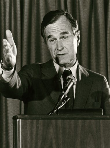 Former President and Vice President George H. W. Bush speaks to a crowd during a visit to Phoenix in June 1981.