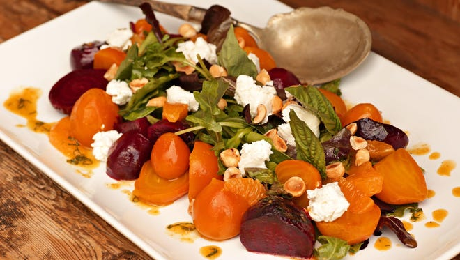 Roasted Beet Salad with Goat Cheese, Hazelnuts and Orange Vinaigrette from Charles Wiley of Hotel Valley Ho.