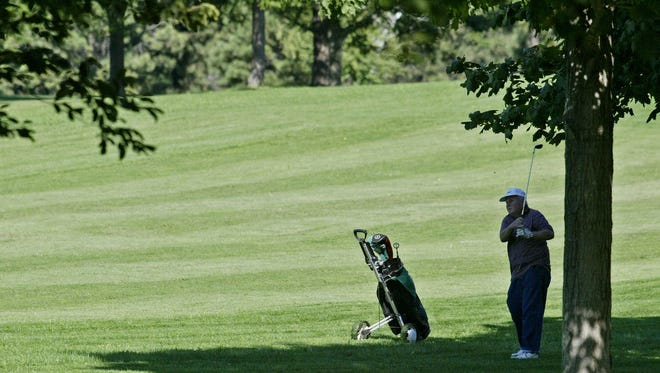 A golfer watches his shot while playing the course at Warnimont Park in Cudahy on Sept. 16, 2008.