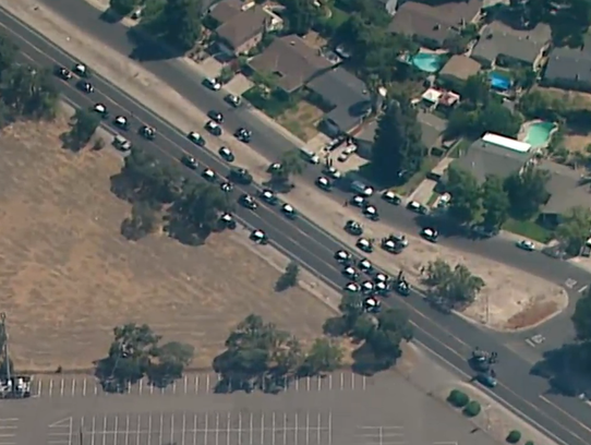 This was the scene in north Stockton on July 16, 2014, where a Stockton police spokesman said a pursuit with suspected bank robbers who had a hostage and were shooting at police may have ended.