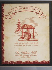 An old menu (circa 1950s) from the Wishing Well. A rededication event is planned in Gates on Saturday, June 10, 2017.