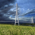 This artist's rendering shows what a suspension bridge crossing the Detroit River between Detroit and Windsor might look like.
