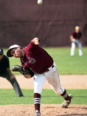 Jarod Byard fires a pitch toward the plate during John Glenn's 12-9 win against Zanesville on Thursday in New Concord.