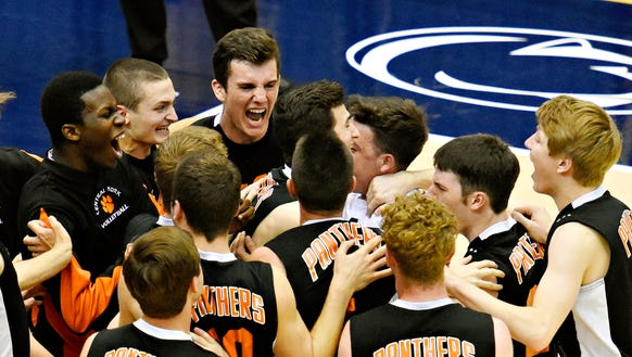 Central York celebrates a 3-1 win over North Allegheny