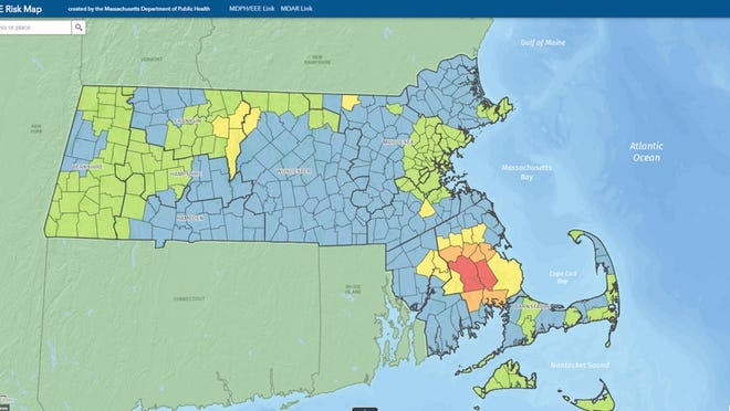 "A 2020 EEE Risk map from the Department of Public Health shows the Middleborough and Carver municipalities with ""critical"" risk levels."