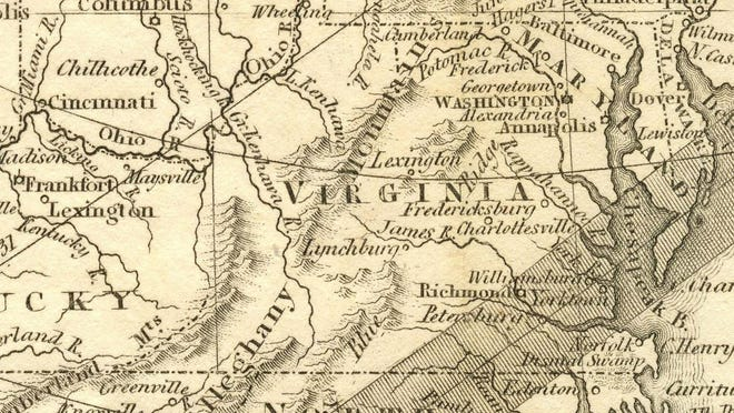 """Partial map of the February 12, 1831 """"Nat Turner Eclipse,"""" published by the 1831 American Almanac."""