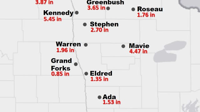 This submitted graphic shows rainfall totals from June 4-10 at weather stations managed by the North Dakota Agricultural Weather Network (NDAWN).