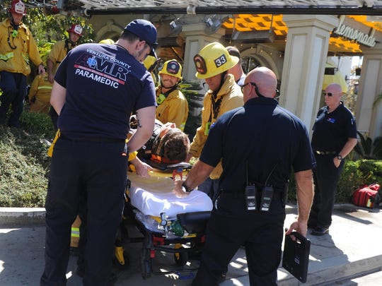 A worker was rescued Wednesday after being trapped at the bottom of a 20-foot vault at the Promenade at Westlake shopping center.