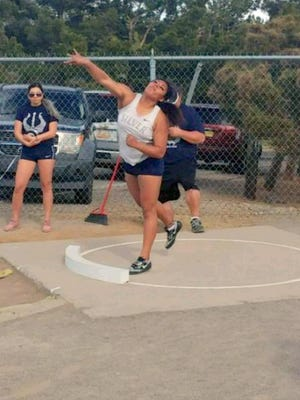 Silver's Aysia Salas took the top honors in the shot put competition Thursday evening in the Mike Castillo Invitational. She threw 38 feet, 6 inches which is a top mark in the state regardless of classification.