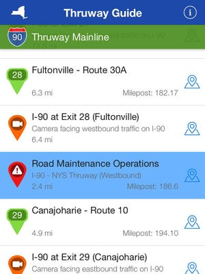 A screen shot of the new iPhone app for the state Thruway created by Dan Wheeler, a software developer from New Jersey and frequent Thruway driver.