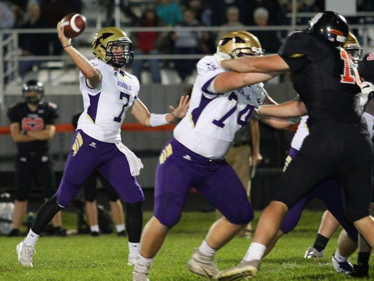 Norwalk junior quarterback Max Sutcliffe throws a pass. Norwalk won 49-0 at Grinnell on Sept. 22.