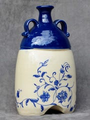 Blue and White Flowered Jug by Faye Ormseth.