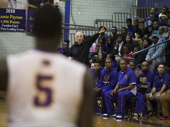 Camden coach John Valore directs his team during the