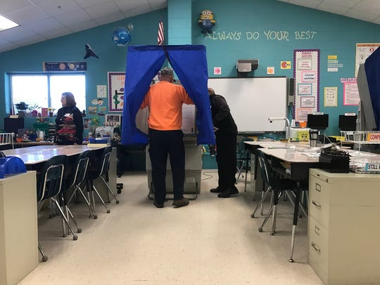 Voters at Selbyville Middle School come out to vote