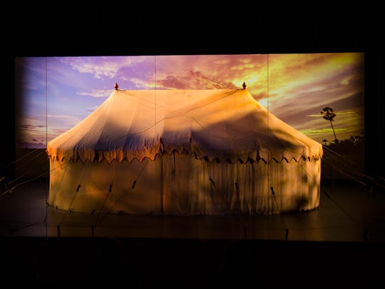 The authentic WashingtonÕs Headquarters Tent is unveiled at the end of a multimedia presentation inside the upcoming Museum of the American Revolution Friday, March 24 in Philadelphia.