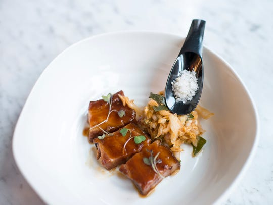 A pork belly dish from Maison 208 in Philadelphia.