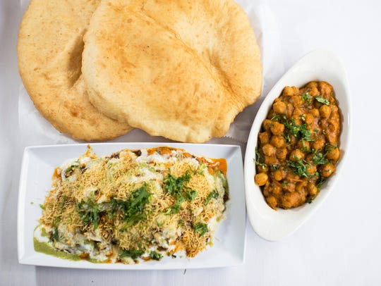 Samosa Chat and Cholle Bhatura are appetizer takes on popular street food from Aroma Indian Bistro in Merchantville.