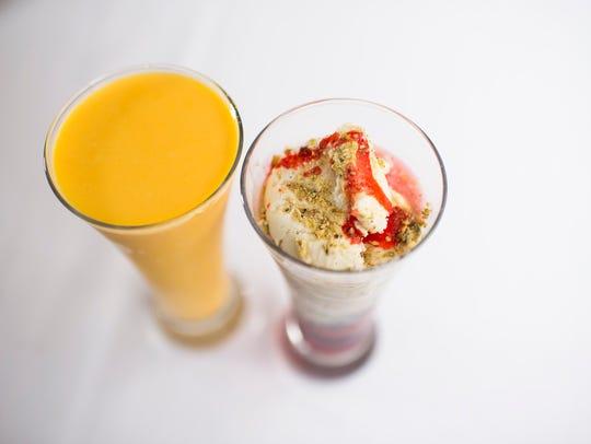 Something sweet: Mango Lassi, left, and Malai Falooda Kulfi dessert from Aroma Indian Bistro in Merchantville.
