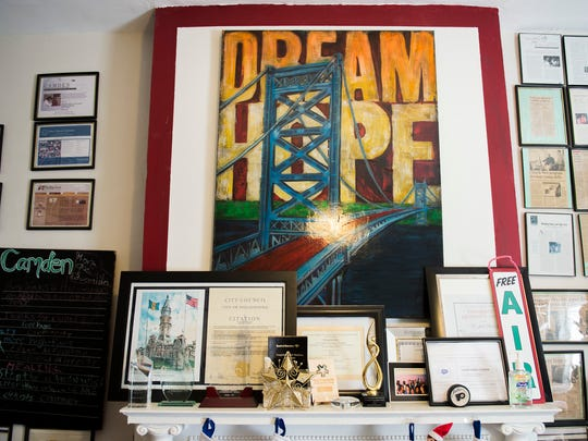 "A piece of artwork depicting ""Dream Hope"" on display inside Hopeworks 'N Camden Friday, Dec. 1, 2017 in Camden."