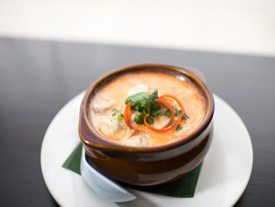 A Tom Kha soup from Pinto Thong Thai Cuisine in Deptford.