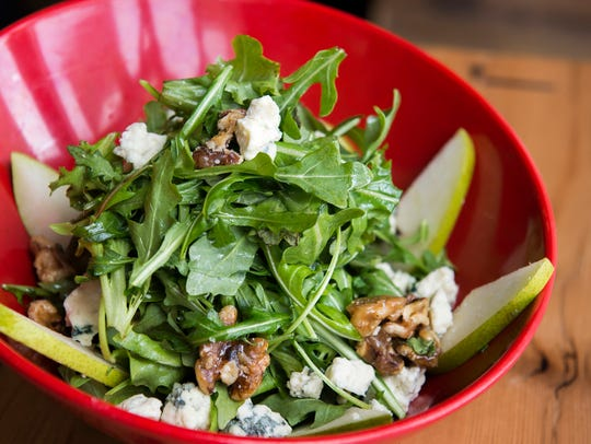 A generous Gorgonzola Salad from Marino's Kitchen in Marlton is a refreshing start to a meal. It features abundant crumbles of blue cheese, a pleasantly rich foil to handfuls of baby arugula dressed with a tangy vinaigrette made from honey and white balsamic vinegar.