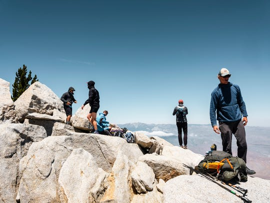 Hikers gather on San Jacinto peak.