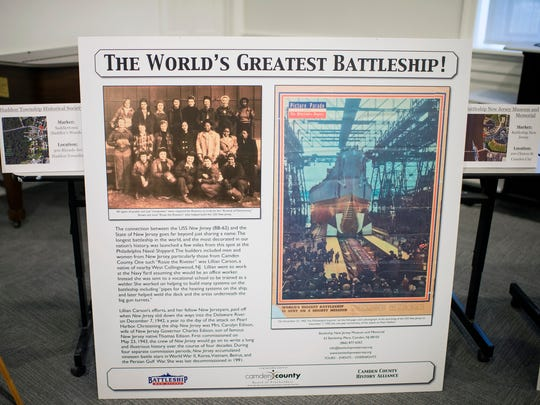 A sign dedicated to the USS New Jersey is on display at the Camden County Historical Society in Camden.