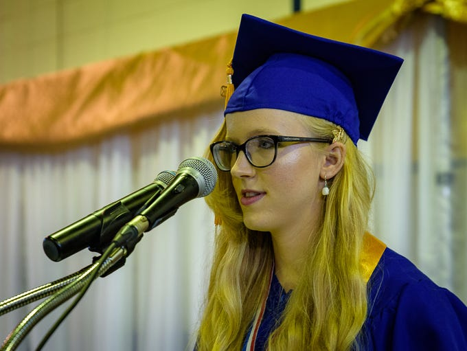 Salutatorian Haley Marshall delivers her commencement