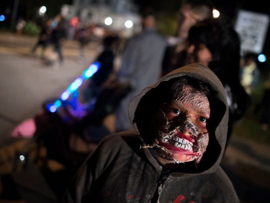 Oziel Rodriguez, 11, is as a zombie for Selbyville's