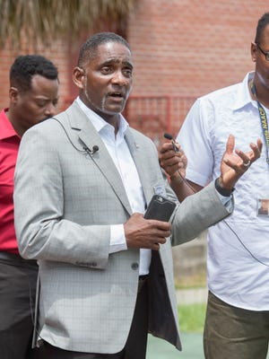 Lawrence Powell calls for a unified stance against gun violence during a press conference at the Fricker Community Center in Pensacola on Thursday, May 17, 2018.  This call to action comes after an overnight shooting that took place in the area.