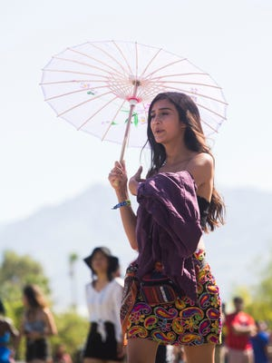 Fashionistas arrive at the 2018 Coachella Valley Music and Arts Festival's first weekend of the two weekend music festival held in Indio. Saturday April 14, 2018.