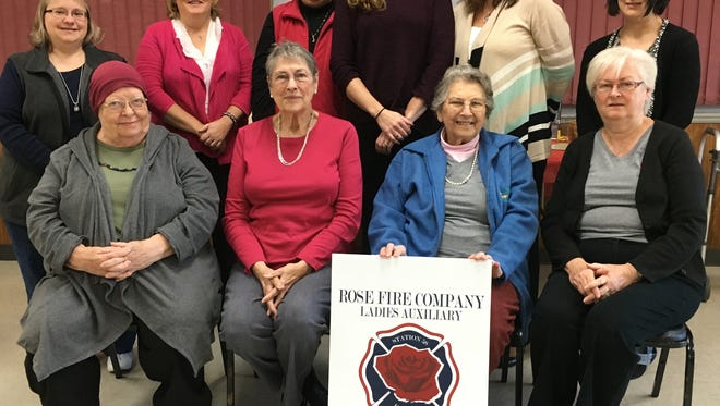 The Rose Fire Company Ladies Auxiliary celebrates 75 years. From back left: Denise Hale, Glenda Cummings, Sheree Holloway, Erin Holloway, Kathy Rodgers, Amanda Rosier. From front left: Florence King, Virginia Smith, Charlotte Klinedinst, Sindia Noll