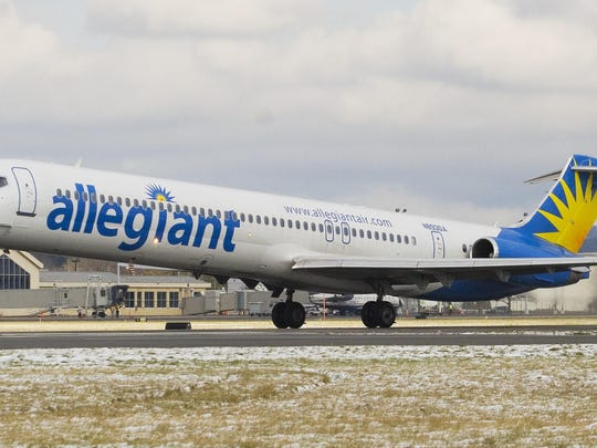 An Allegiant Airlines flight takes off from the Elmira Corning Regional Airport.