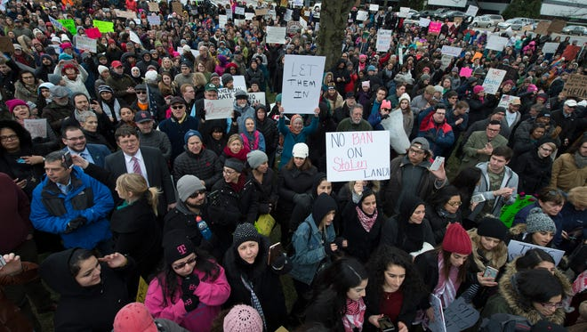 Thousands gather outside Sens. Lamar Alexander and Bob Corker's offices to protest President Donald Trump's executive orders on travel bans Jan. 29, 2017.