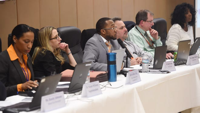Members of the Poughkeepsie City School District School Board, pictured during a meeting on Feb. 22, 2017.
