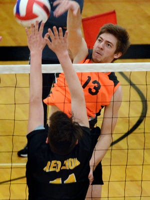 York Suburban's Nate Bowman, seen here in a file photo, had 15 kills on Monday in the Trojans' 3-2 victory over Lancaster Mennonite. YORK DISPATCH FILE PHOTO