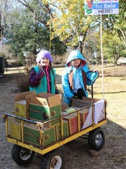 Sisters Pearl and Wren Hall open cookie season in January by going door to door while pulling a wagon full of Girl Scout cookies.