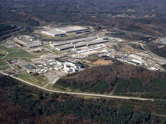 This undated file photo provided by the U.S. Department of Energy shows the sprawling K-25 gaseous diffusion plant, where uranium was enriched for the World War II-era Manhattan Project in Oak Ridge, Tenn. The narrow U-shaped building in the middle, also known by the name K-25, was the largest building in the world at the time it was built in the 1940s. The entire site is being turned into a private industrial park.