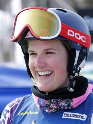 Paula Moltzan (6) after the second run of women's slalom at the 2015 U.S. Alpine Championships at Sugarloaf.